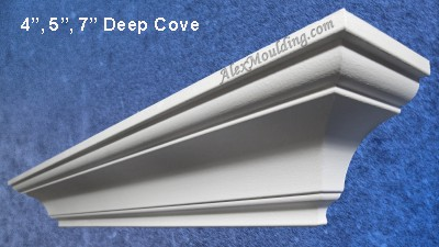 HDF Deep Cove - 4, 5, and 7 inches crown  molding